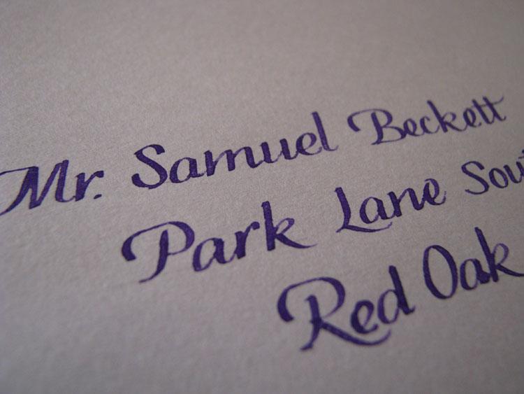 Purple Italic Lettering