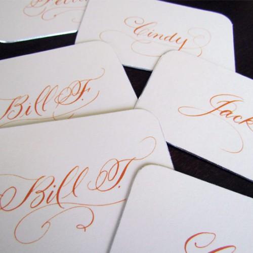 Orange Flourished Place Cards