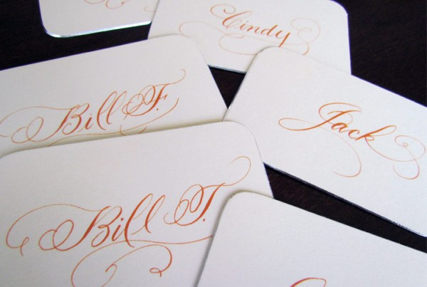 Orange Flourished Place Cards