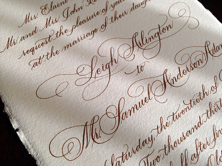 Baker invite flourished script calligraphy by marlean