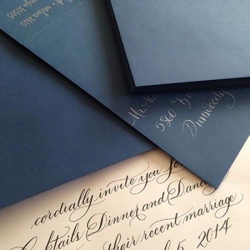 Marlean's Calligraphy-hand addressed Envelopes & Invite