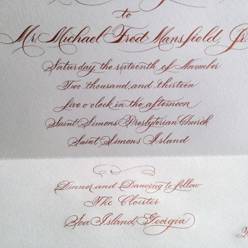 Hand lettered Script Invitation --Cooper Engraved
