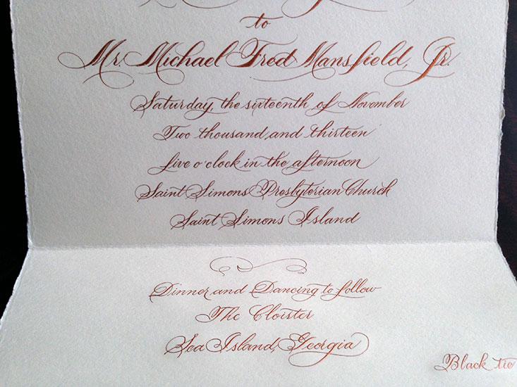 Hand lettered Script Invitation --Cooper Engraved