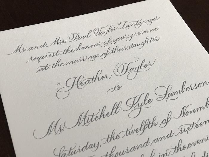 Zantzinger Invite - Script Lettering
