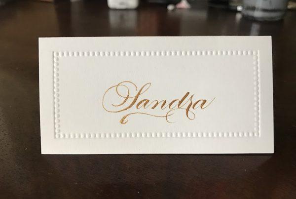 Sandra - Place card Flourished Script Lettering