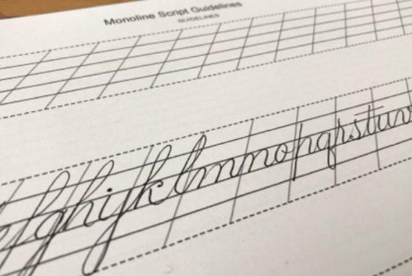 monoline script—lowercase on guidelines